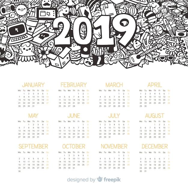 Plantilla moderna de calendario de 2019 dibujado a mano vector gratuito