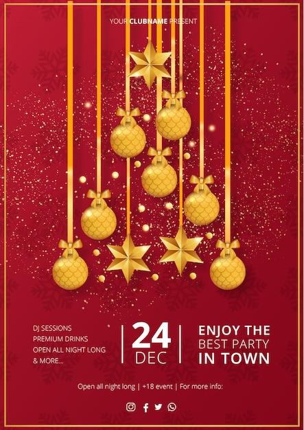 Plantilla moderna del cartel de la feliz fiesta de navidad vector gratuito