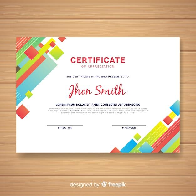 Plantilla moderna de certificado con diseño abstracto vector gratuito