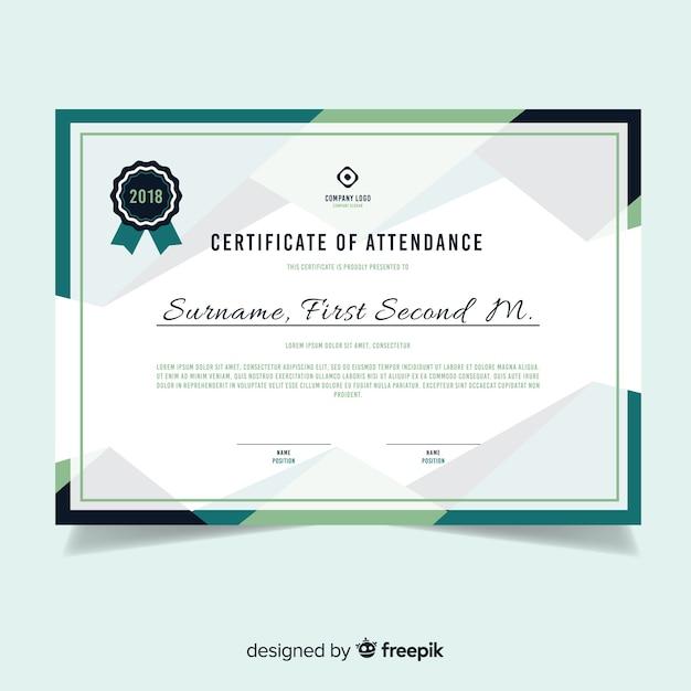 Plantilla moderna de certificado en diseño flat vector gratuito