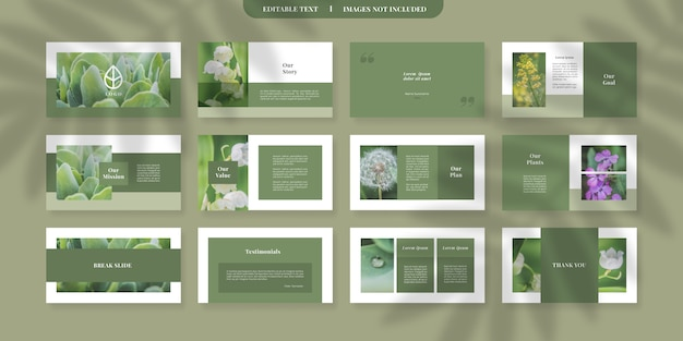Plantilla moderna de diapositivas de powerpoint verde Vector Premium