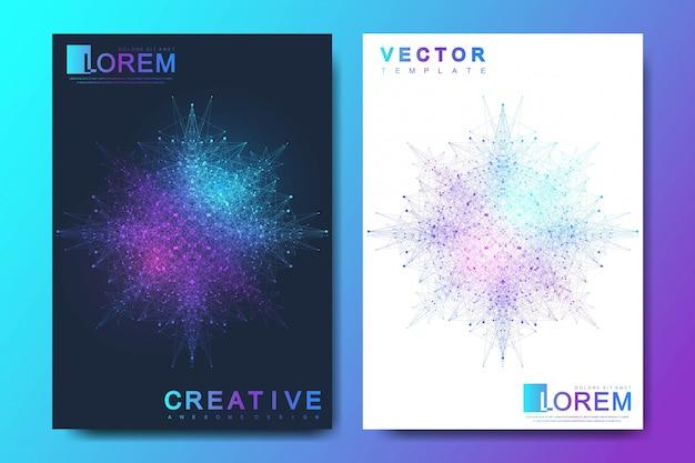 Plantilla moderna para folleto, folleto, volante, portada, pancarta, catálogo, revista o informe anual en tamaño a4. diseño futurista de ciencia y tecnología. molécula de fondo gráfico geométrico Vector Premium