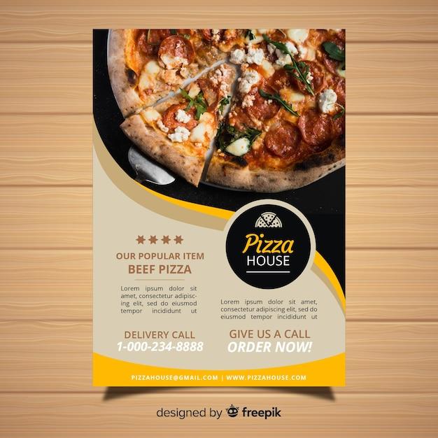 Plantilla moderna de folleto de pizzería vector gratuito