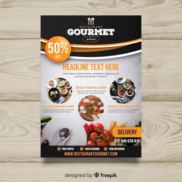 Plantilla moderna de folleto de restaurante gourmet vector gratuito