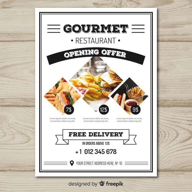 Plantilla moderna de folleto de restaurante vector gratuito