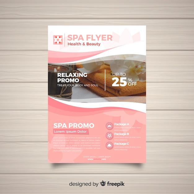 Plantilla moderna de folleto de spa con foto vector gratuito