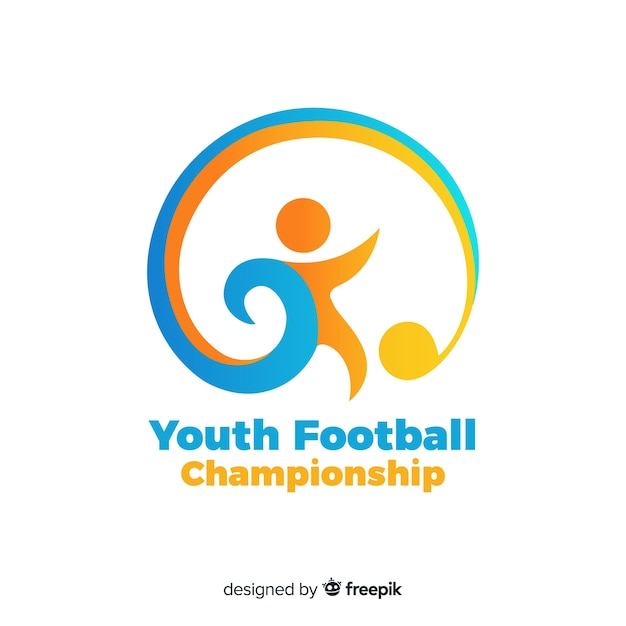 Plantilla moderna de logotipo de equipo de fútbol vector gratuito