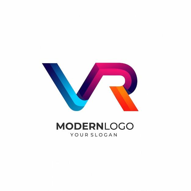 Plantilla moderna del logotipo de la letra vr Vector Premium