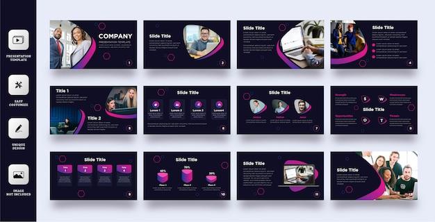 Plantilla moderna de presentación multipropósito de color púrpura oscuro Vector Premium