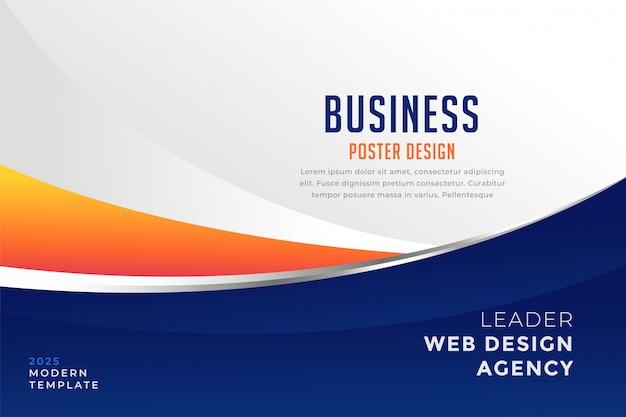 Plantilla moderna de presentación de negocios azul y naranja vector gratuito