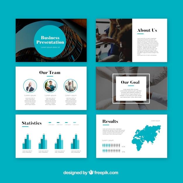 Plantilla moderna de presentación de negocios vector gratuito