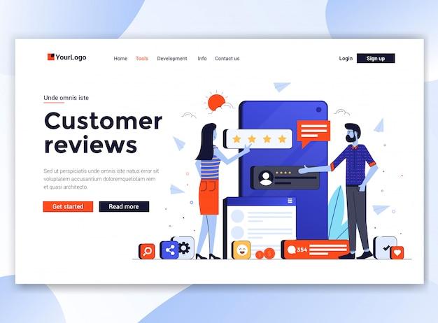 Plantilla moderna de sitio web - opiniones de clientes Vector Premium