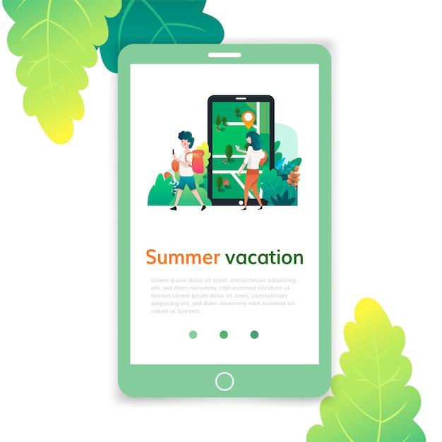 Plantilla móvil de vacaciones de verano, página web y diseño de página de destino para el desarrollo de sitios web. Vector Premium
