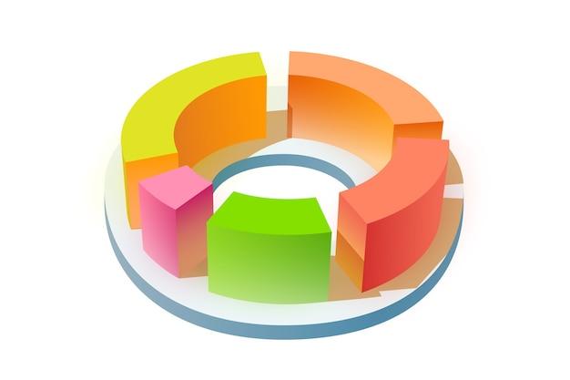 Plantilla de negocio en blanco de infografía con colorido diagrama redondo 3d en blanco aislado vector gratuito