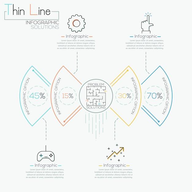 Plantilla de negocio círculo moderno en estilo de línea fina Vector Premium