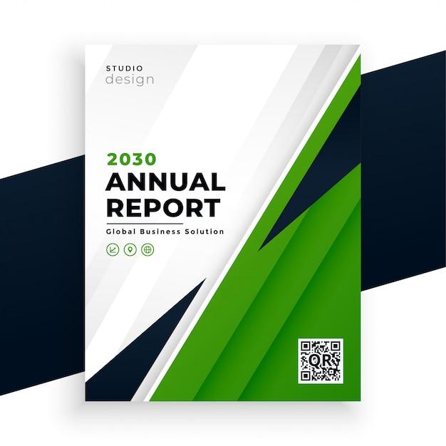 Plantilla de negocio de folleto de informe anual abstracto geométrico verde vector gratuito
