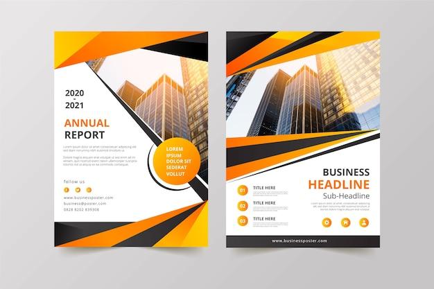 Plantilla de negocios con foto de construcción vector gratuito