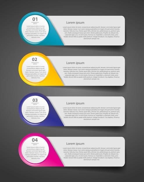 Plantilla de negocios de infografía con cuatro pasos Vector Premium