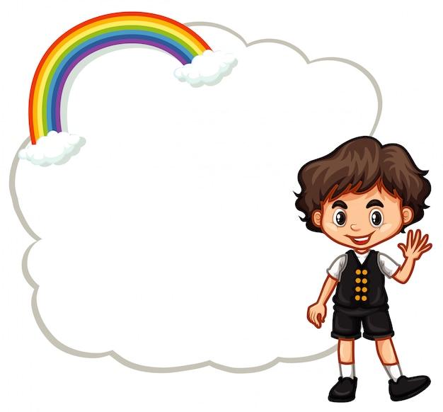 Plantilla de niño feliz y nube vector gratuito