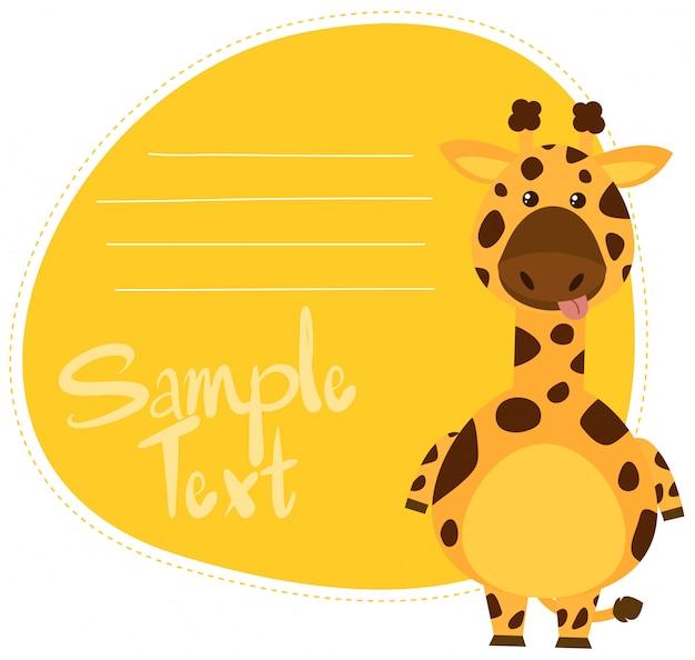Plantilla de nota de jirafa de dibujos animados vector gratuito