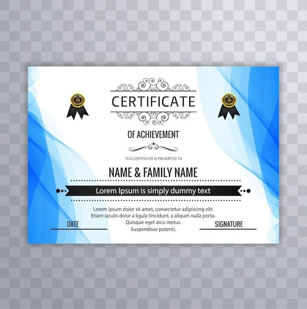 Plantilla ondulada azul de certificado de logro | Descargar Vectores ...