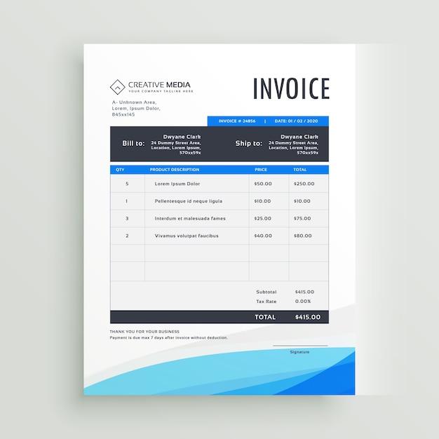 Plantilla ondulada azul de factura | Descargar Vectores gratis