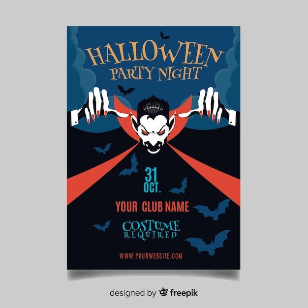 Plantilla original de póster de fiesta de halloween con diseño plano vector gratuito