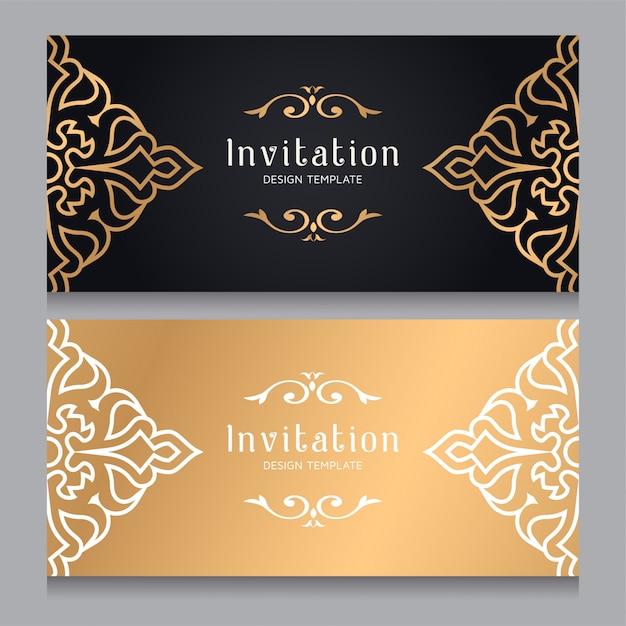 Plantilla Ornamental De La Invitación De La Boda Del Oro De