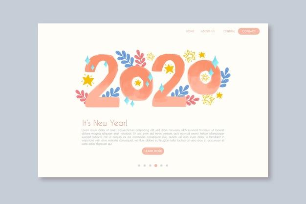Plantilla de página de aterrizaje de año nuevo dibujado a mano vector gratuito