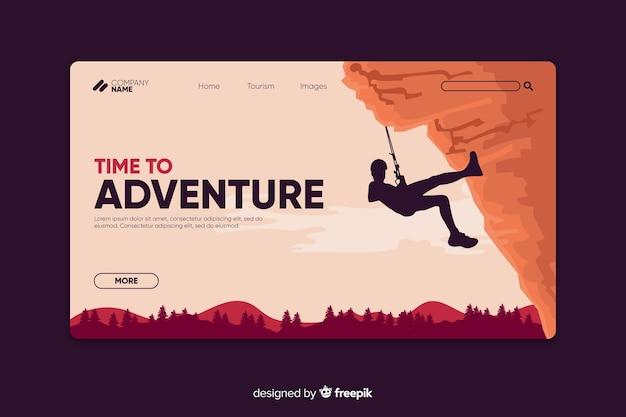 Plantilla de página de aterrizaje de aventura vector gratuito