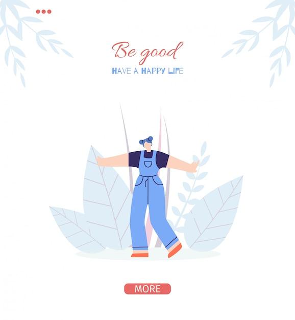 Plantilla de la página de aterrizaje de be good motivation vector gratuito