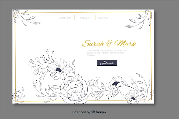 Plantilla de página de aterrizaje de boda vector gratuito