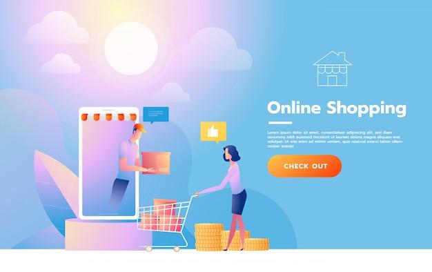 Plantilla de página de aterrizaje de compras en línea. concepto de diseño plano moderno de diseño de página web para sitio web y sitio web móvil. ilustración vectorial Vector Premium