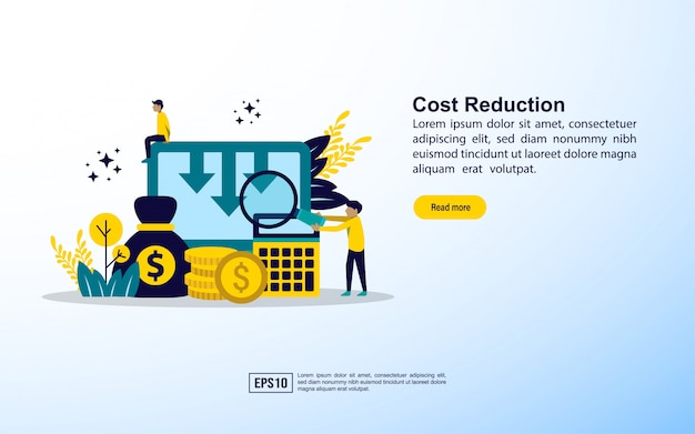 Plantilla de página de aterrizaje. concepto de reducción de costes. concepto de reducción de costes empresariales. Vector Premium