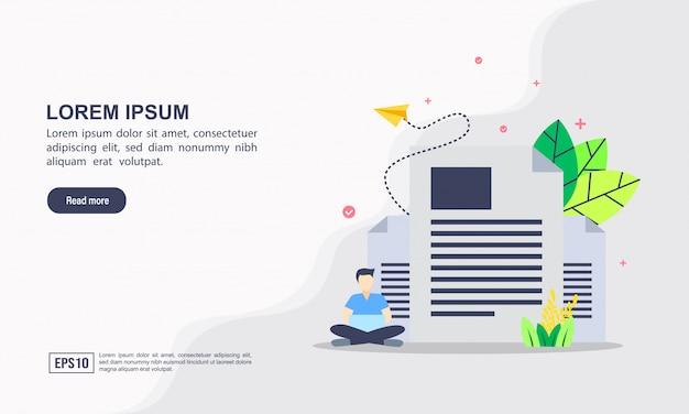 Plantilla de página de aterrizaje. copie el concepto de la ilustración de la escritura con el carácter. Vector Premium