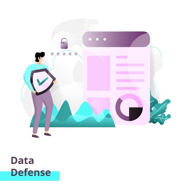 Plantilla de página de aterrizaje de data defense Vector Premium