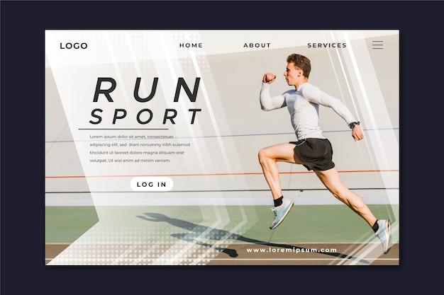 Plantilla de página de aterrizaje deportivo con foto vector gratuito