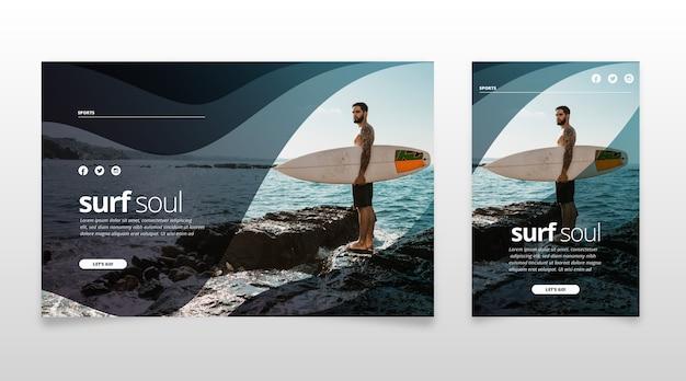 Plantilla de página de aterrizaje deportivo con foto Vector Premium