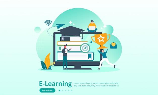 Plantilla de página de aterrizaje de educación en línea. Vector Premium