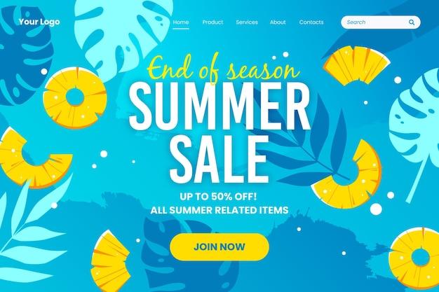 Plantilla de página de aterrizaje de fin de temporada de verano vector gratuito