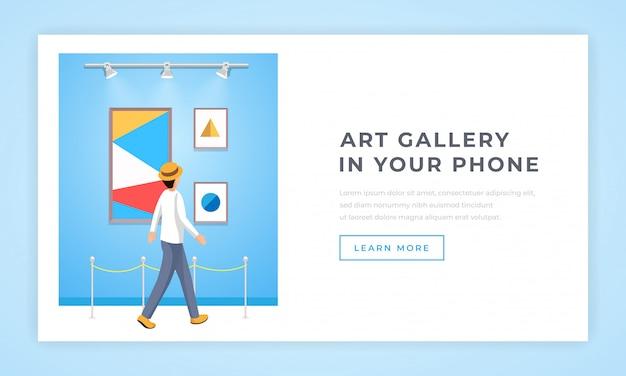 Plantilla de página de aterrizaje de la galería de arte contemporáneo Vector Premium