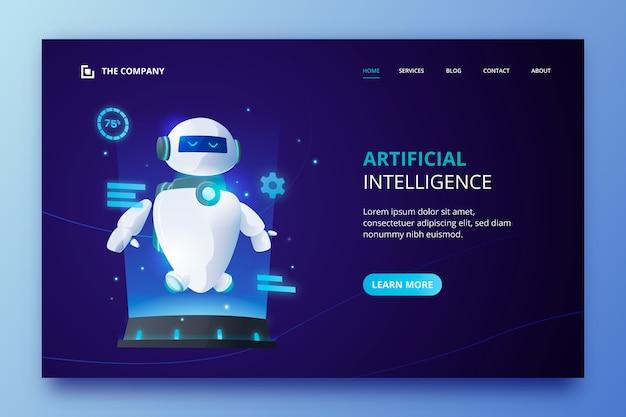 Plantilla de página de aterrizaje de inteligencia artificial vector gratuito