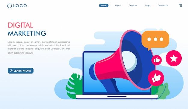 Plantilla de página de aterrizaje de marketing digital en línea Vector Premium
