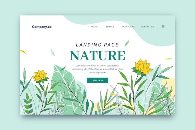 Plantilla de página de aterrizaje de naturaleza dibujada a mano vector gratuito