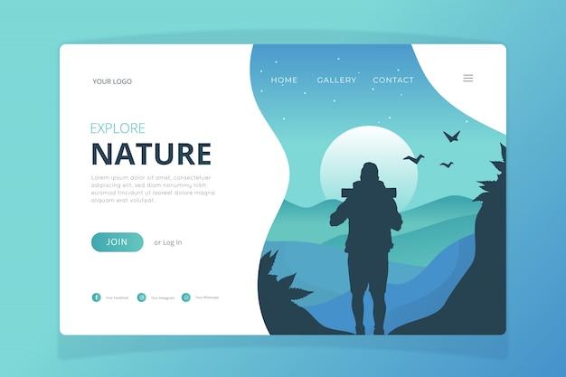 Plantilla de página de aterrizaje de la naturaleza vector gratuito