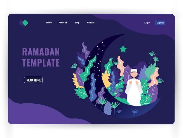Plantilla de página de aterrizaje oscuro del mes sagrado de la oración, ramadán kareem. Vector Premium