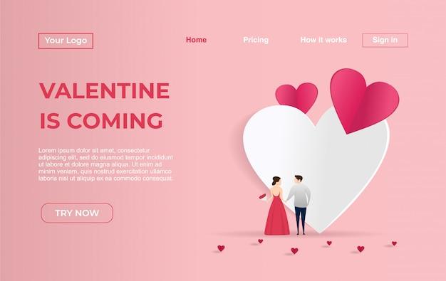 Plantilla de página de aterrizaje de pareja para el día de san valentín. Vector Premium