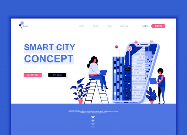 Plantilla de página de aterrizaje plana de smart city Vector Premium