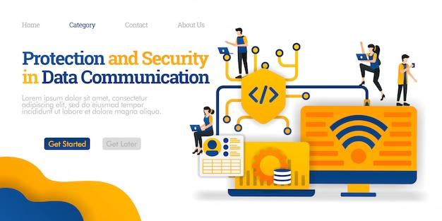 Plantilla de página de aterrizaje. protección y seguridad en la comunicación de datos. proteger la ruta de intercambio de datos para la seguridad del usuario Vector Premium