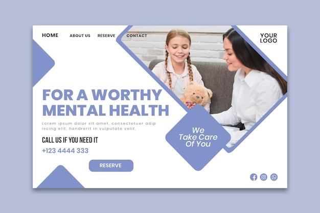 Plantilla de página de aterrizaje de psicología clínica vector gratuito
